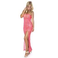 Neon Lights Sequin Maxi Dress - Neon Pink