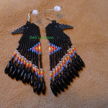 Native American Style Brick stitched Raven earrings