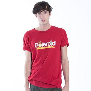 Polaroid Logo cactus desert graphic red tee by Altru Apparel