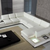 Divani Casa - Modern Leather Sectional Sofa with Light