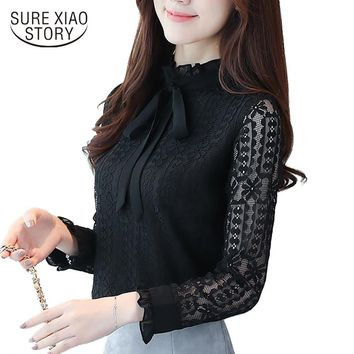 new long sleeves women clothing solid lace women blouse blusas casual plus size bow stand neck women shirts clothes C871 30