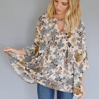 Fall Floral Cutout Top Sage