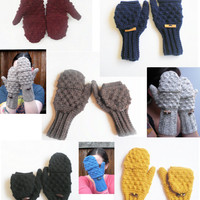 Wool Blend Glittens in Your Choice of 29 Color Options, MADE TO ORDER. $40.00