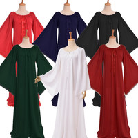 Vintage Women Medieval Dress Costume Gothic Lace Trim Trumpet Sleeve Long Chemise Robe Gown Max Dress Garment