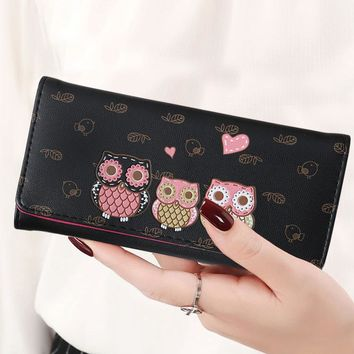 Owl Lady Coin Purse Long Short Style Money Bags Clutch Woman Wallet