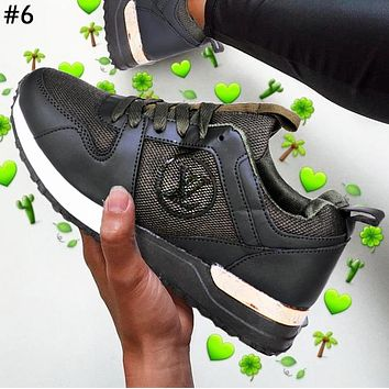 LV street fashion men and women color matching old flower sports running shoes #6