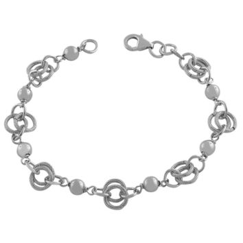 """Sterling Silver Circles And Beads Link Bracelet, 7.5"""""""