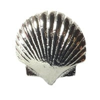 Vintage Seascape Shell Drawer Cabinet Cupboard Pull Knob (Scallop Shell - Silver/Pewter)