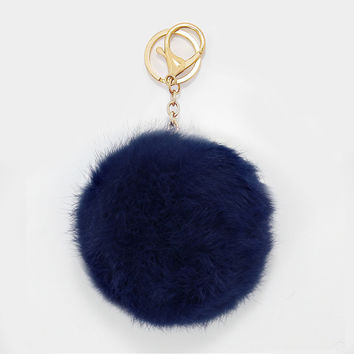 Large Rabbit Fur Pom Pom Keychain, Key Ring Bag Pendant Accessory - Navy
