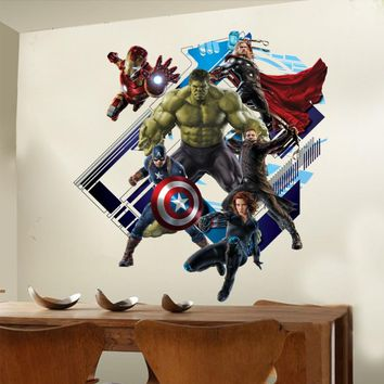 Avenger Wall Sticker Baby Kids Room Stickers Cartoon Decals Home Decor Wallpaper Poster Y007 Home Decoration Nursery Art