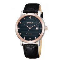 Men's Simple Rhinestone Accented Round Face Genuine Leather Strap Quartz Movement Calendar Watch Black