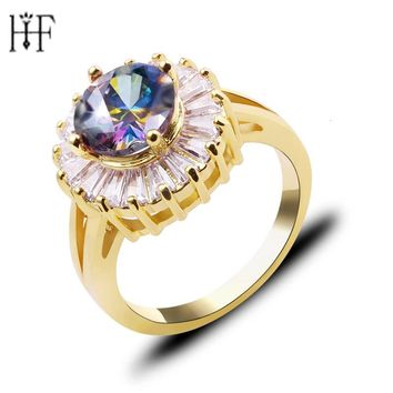 Charm Multicolor Round Zircon Purple/White Fire Opal Rings For Women Vintage Fashion Gold Filled Birthstone Ring Can Dropshippin