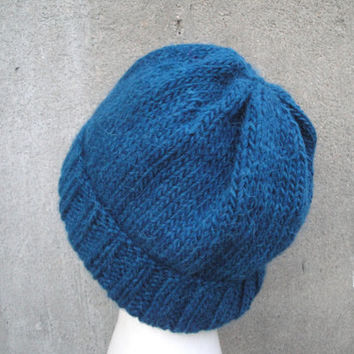 Teal Blue Beanie, Slouch/Slouchy Hat, Watch Cap, Hand Knit Llama/Wool, Men & Teen Boys