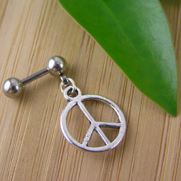 "Small Peace Sign 16g 1/4"" 6mm Cartilage Earring Helix Stud Barbell Cartilage Piercing Boho Tribal Hippie Symbol Dangle Earring"