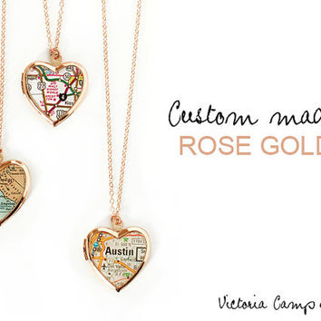 Custom Map Necklace with Rose Gold Heart Locket, Personalized Map Jewelry, Rose Gold Chain, Gift for Her - Made to Order