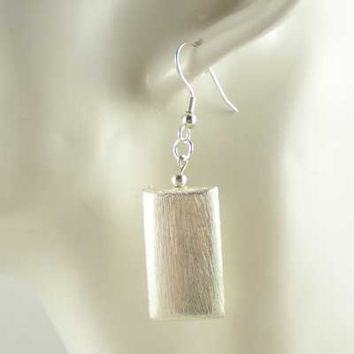 Modern Minimalist Contemporary Style Earrings Large Brushed Silver Plated Rectangular Pillow Bead, UK Handmade 10013