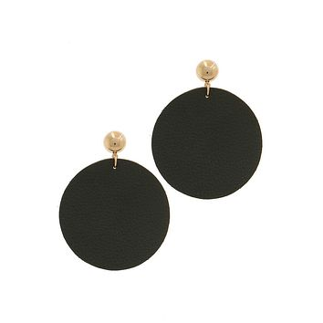 Simple Casual Fashion Jewelry Leather Circle Post Drop Earring