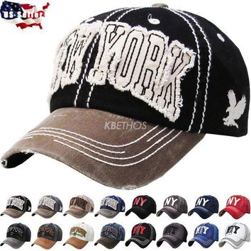 DCK4S2 New York NY Vintage Distressed Hat Baseball Cap Washed