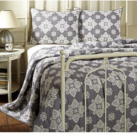 Adelaide Medallion Gray Bed Quilt