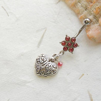 Heart Flower Belly Ring You Choose Color, Belly Button Jewelry, Heart Belly Ring, Crystal Flowe Belly Ring