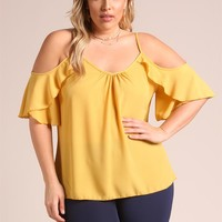 Plus Size Clothing | Plus Size Ruffle Cold Shoulder Blouse | Debshops