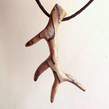 Deer Antler Necklace, Wooden Pendant Hand Carved. Antler Pendant, Deer Antler Jewelry, Antler Necklace, Nature, Men's, Tribal, Surfer