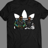RAPPERS TUPAC AND BIGGIE SMALLS ADIDAS MASH UP T-SHIRT