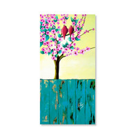Tree Art Love Birds ORIGINAL Painting on Canvas, Romantic Wall Art Couples Gift, 100% Hand-Painted