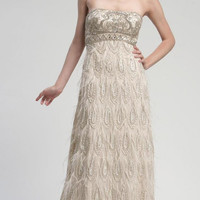 Sue Wong N3102 Champagne Ostrich Feather Dress