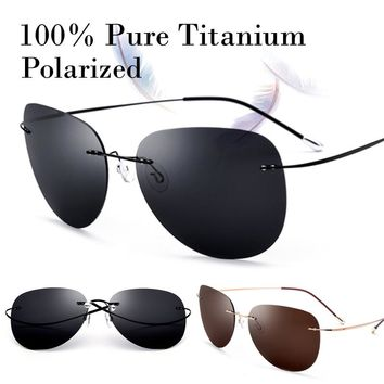 100% Real Titanium Ultralight No Screw Polarized Rimless Sunglasses