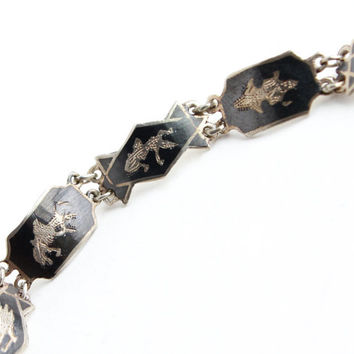 Vintage Sterling Silver Siam Bracelet - Signed Goddess Thai Panel Gray Enamel Jewelry / Siamese Goddesses