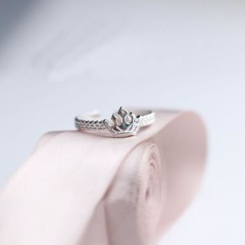 VLX2WL Jewelry Gift New Arrival Shiny Crown Silver Lovely Twisted Korean Stylish Ring [11045470868]