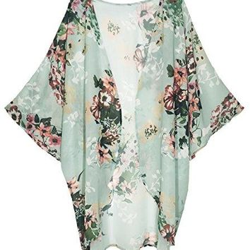 Finoceans Womens Floral Chiffon Kimono Cardigans Loose Beach Cover up Half Sleeve Blouse Tops