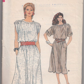 Very Easy 1980s Vogue Pattern 8971 Loose Fitting A-Line Dress Neck Band Kimono Sleeve Size 14 -16 -18 Bust 36-38-40 Vintage Sewing Pattern