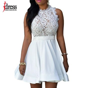 IDress 2018 New Solid White Pretty Dresses O-neck Sleeveless Patchwork Big Swing Dress Ukraine Sexy Mini Party Summer Lace Dress