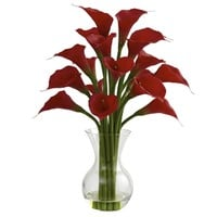 SheilaShrubs.com: Red Galla Calla Lily w/Vase Arrangement 1299-RD by Nearly Natural : Artificial Flowers & Plants
