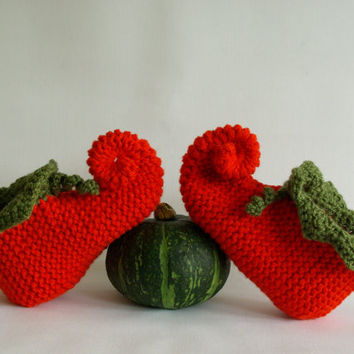 Knitting Pattern For Elf Slippers : pumpkin slippers, Halloween slippers, from nettimadeit on Etsy