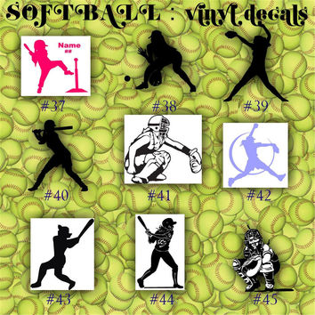 SOFTBALL vinyl stickers -car sticker - team sports decal - personalizable vinyl decals - page #5-8