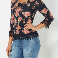 Navy Floral Crochet Trim Skimmer Top | Shirts | rue21