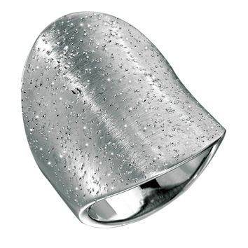 Sterling Silver With Rhodium Plating Graduated Saddle Back Type Stardust Finish Ring