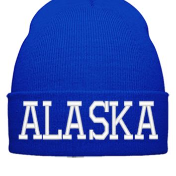 ALASKA EMBROIDERY HAT - Beanie Cuffed Knit Cap