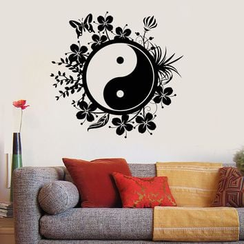 Vinyl Wall Decal Yin Yang Tai Chi Chinese Philosophy Floral Patterns Stickers Unique Gift (ig2805)