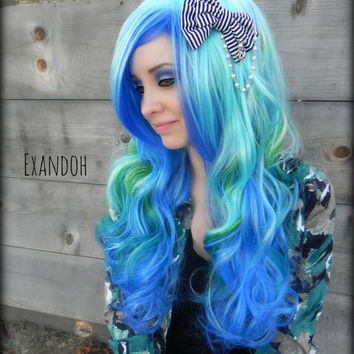 ON SALE // Light Blue, Teal and Green / Long Curly Layered Wig Full Thick Bouncy