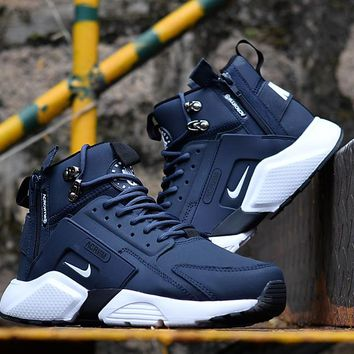 Huarache x Acronym City MID Leather Navy White Sneaker Shoes fb0046ce48a2