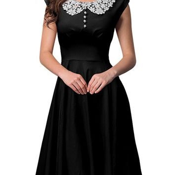 Miusol Women's 1940's Rockabilly V Neck Cocktail Evening Party Dress