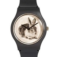 MAY 28TH Rabbit Watch Black Matte Plastic Buckle at asos.com