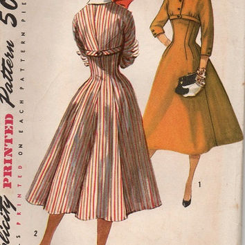 Vintage Simplicity 50s Sewing Pattern Tea Dress Fit & Flare Circle Skirt Swing Style Fitted Bodice High Low Drape Skirt Uncut Bust 38