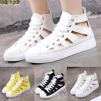 Fashionable flat heel lace-up high upper lovers canvas shoes female hollow sports casual shoes