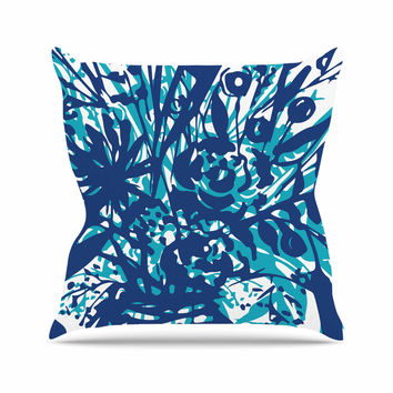 "Patternmuse ""Inky Floral Navy"" Blue Teal Painting Outdoor Throw Pillow"