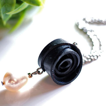Black rubber & pearl rose pendant handmade with recycled bike tire inner tube and a freshwater pearl , Elegant black spiral jewelry